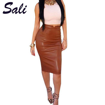 Women Soft PU Leather Skirt High Waist Slim Hip Pencil Skirts Vintage Bodycon OL Midi Skirt Sexy Clubwear Plus Size