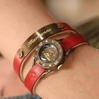 Demeter - Double handmade engraved nameplate watch | handmadewatches - Accessories on ArtFire