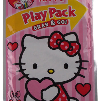 Lot of 12 Hello Kitty Play Packs Grab & Go Valentines Day Coloring Book Crayons