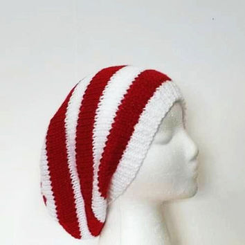 Knit slouchy beanie, red white stripe, womens hats, oversized beanie, large size , 5186