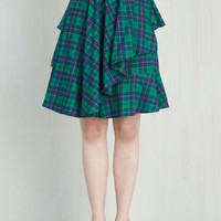 90s, Steampunk, Scholastic Mid-length Full Elegant and Intelligent Skirt in Tartan