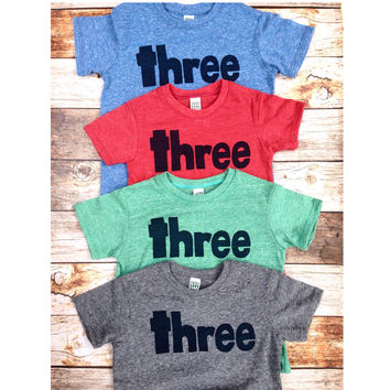 Three red, blue, grey, mint- boys 3rdbirthday shirt with navy one kids birthday theme first party