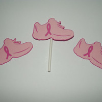 Pink Ribbon Shoe Cupcake topper by armywife711 on Etsy