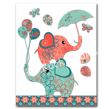 Neutral nursery artwork nursery wall art turquoise coral elephant poster baby girl room art baby boy room decor baby shower gift kids poster