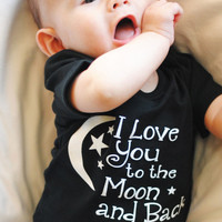 I love you to the Moon and Back Baby Onesuit, Gender Neutral Gift, love you to the moon