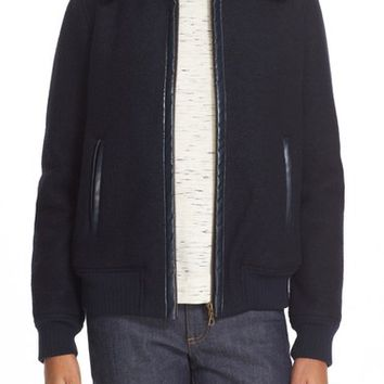 A.P.C. 'Stacy' Faux Leather Trim Wool Jacket with Removable Genuine Shearling Collar | Nordstrom