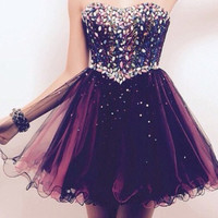 Homecoming Dress, Elegant Strapless Crystals Beading Chiffon Short Prom Dress