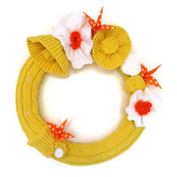 Sunny Yellow Cotton Wreath Spring and Summer Knitted Wreath with Orange Origami Birds