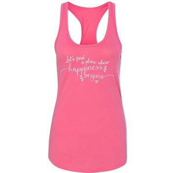 """Jonas Brothers """"Let's find a place where Happiness Begins"""" Racerback Tank Top"""