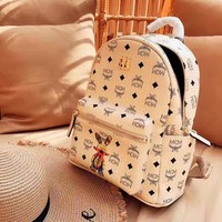 MCM new simple wild large capacity rabbit print backpack backpack