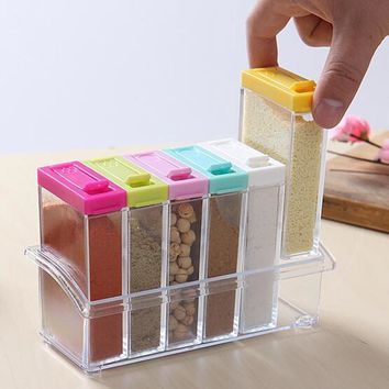 Kitchen Supplies 6pcs Transparet Plastic Seasoning Box Case Condiment Bottles Set Salt Spice Jar Spices Storage Box Kitchen Tool
