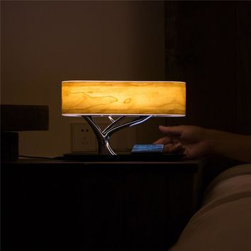 Wood Lamp Bluetooth Speaker & Wireless Phone Charger
