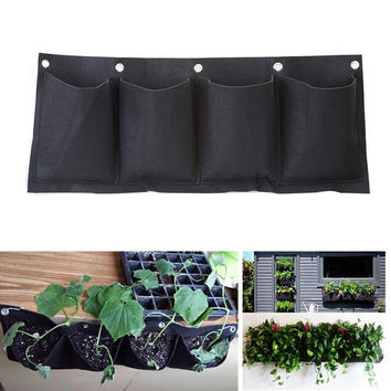 Outdoor Indoor Vertical Gardening Hanging Wall Garden 4 Pockets Planting Bags Seedling Wall Planter Growing Bags EJ877003