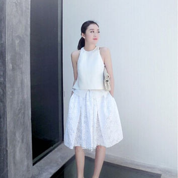 pleated skirt/white pleated skirt/pleated midi skirt/midi skirt/full midi skirt/white midi skirt/pleated white skirt/midi skirt with pockets