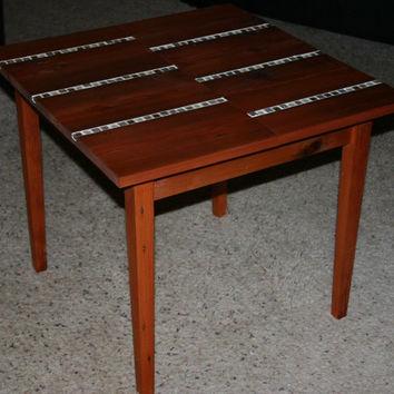 Antique Reclaimed Wood, Cherry Stained with Jewel Tile Inlays Coffee or End Table Recycled and Re-purposed Mosiac