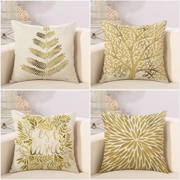 Decorative throw pillows cover Modern simple pillow Popper geometry plant noble gold trees leaf cotton linen sofa cushion cover