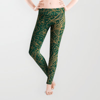 Gold and Green Tangle Pattern Leggings by Tanyadraws
