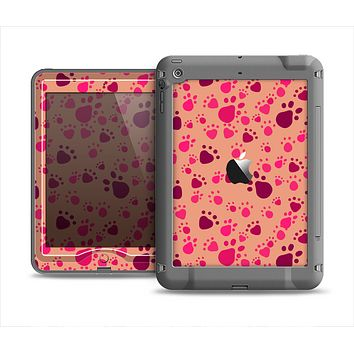 The Pink & Tan Paw Prints Apple iPad Mini LifeProof Nuud Case Skin Set