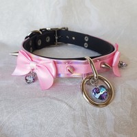 "Pink Crystal Holographic Bio-Vinyl 3/4"" Biothane (Vegan Faux Leather) Buckling Collar 