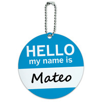 Mateo Hello My Name Is Round ID Card Luggage Tag