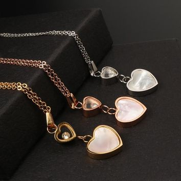 MSX 2017 New Trendy Love Heart Shape Crystal Necklace Women Jewelry Luxury Gold Color Crystal Heart Pendant Necklace Jewelry