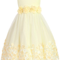 Yellow Satin & Tulle Overlay Dress with Dimensional Taffeta Flowers (Girls 2T - Size 8)