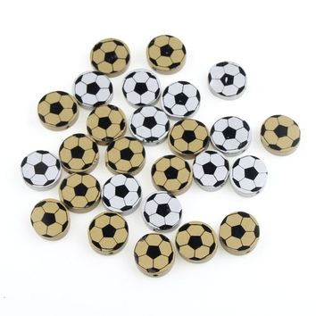 New Football Wooden Beads 20Pcs Wood Findings for Baby DIY Crafts Kids Toys Teething Necklace Pacifier Clip Spacer Beading Bead
