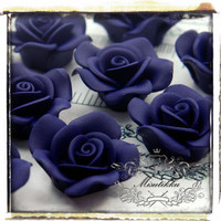 Set of 6 Pcs X 30MM Purple Rose Cabochon in Polymer Clay Resin Flat Back -Deco DIY / Miniature / Decoden / Kawaii Craft Supplies ( FL20U)