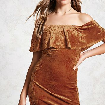 Crushed Velvet Flounce Dress