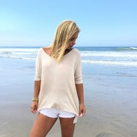 Freedom Jersey Short Sleeve Blouse In Oatmeal