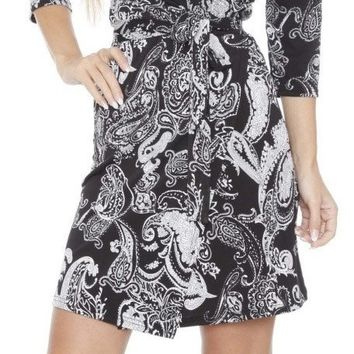 Mariah Paisley Print Wrap Dress Short Cover Up 3/4 Sleeves
