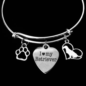 Retriever Jewelry I Love My Retriever Dog Expandable Charm Bracelet Silver Adjustable Wire Bangle Labrador Retriever Paw Print Pet Animal Lover