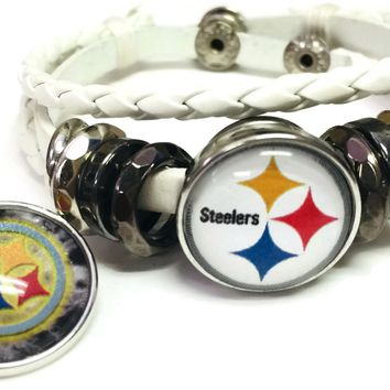 NFL Pittsburgh Steelers Bracelet Snap Logo &  Cool Smokey Logo Football Fan White Leather  W/2 18MM - 20MM Snap Charms New Item