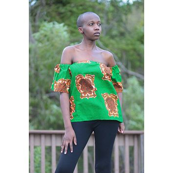 African Print Raha Cape Top -Green/Gold Tribal Print