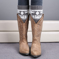 Knit Deer Twisted Boot Cuff Socks