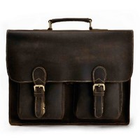 ZLYC Men Vintage Handmade Leather 15 Inch Laptop Messenger Shoulder Bag, Dark Brown