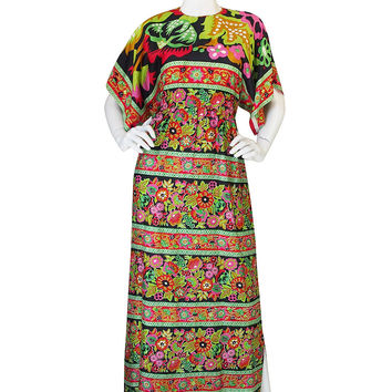 1960s Brilliant Multi Color Thai Silk Caftan Dress