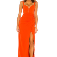 Lovers + Friends Dolores Gown in Blood Orange