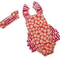 Floral Seaside Bella Summer Baby, Toddler Romper with Headband