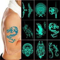 1pc Lake Green Glow in the dark flash Tattoos Stickers Pirate unicorn Wolf Dragon tribal skull totem fake fluorescent cool men