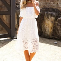 Pirouette Midi Dress White
