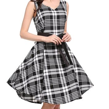 SYTX Women's Plaid V-Neck Sleeveless Belted Cocktail Swing Dress