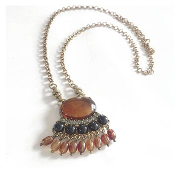 Brown Resin Beads Pendant Necklace For Women