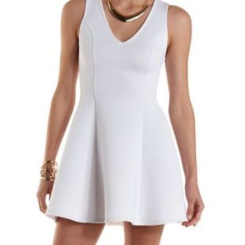 White Scuba Knit Sleeveless Skater Dress by Charlotte Russe