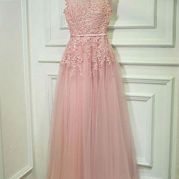 Lace Embroidery Long Evening dress fashion boat neck banquet one-piece dress pink formal party dress