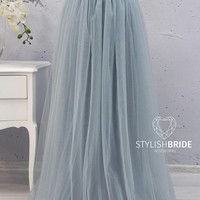 New! Grey Dusty Blue Long Tulle Skirt Casual Floor length Women's, Tulle Skirt Bridal, Princess Women Tulle Skirt,Wedding Long Tulle Skirt
