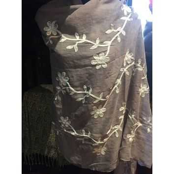 Vintage Styled Sheer brown flower embroidered wrap Shawl