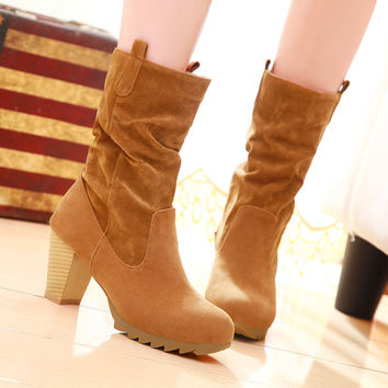 PU Round Toe Middle Block Heel Slouch boots