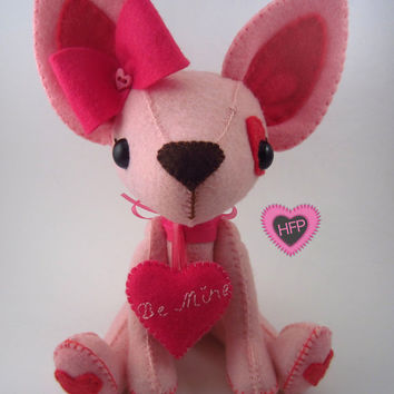 Stuffed Dog, Valentine's Day, Chihuahua Stuffed Toy, Pink Dog, Puppy Love, Stuffed Animal, Felt Plushie