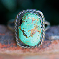 Rustic Navajo Ring Natural Turquoise Sterling Silver Boho
